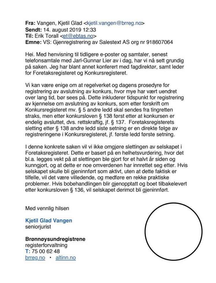 Skjermbilde av slettede bedrifter i foretaksregisteret og innstilte bo Rogaland Juli 2020